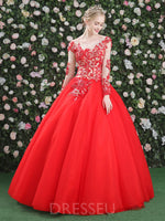 Scoop Floor-Length Ball Gown Beading Quinceanera Dress