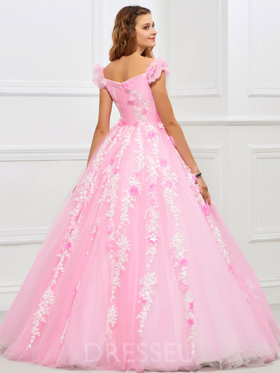 Floor-Length Ball Gown Off-The-Shoulder Appliques Quinceanera Dress