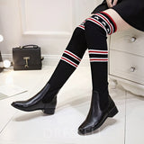 Knit Bootleg Slip-On Stripe Star Women's Knee-High Boots