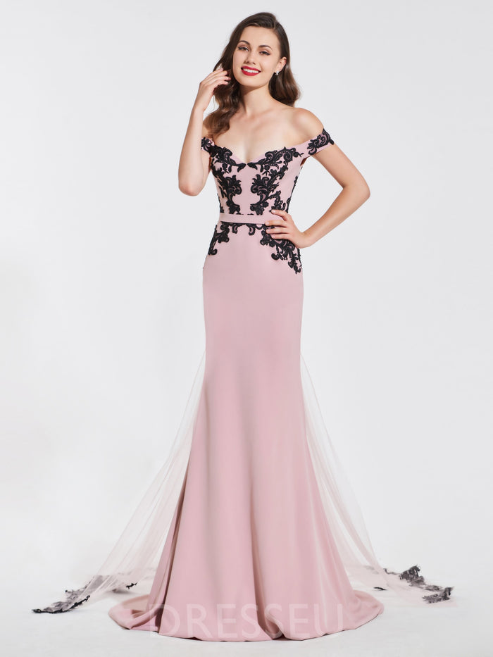 Floor-Length Trumpet/Mermaid Lace Short Sleeves Evening Dress