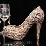 Rhinestone Round Toe Stiletto Heel Slip-On Western Low-Cut Upper Thin Shoes