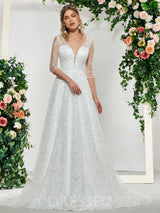 Half Sleeves V-Neck Lace Court Church Wedding Dress