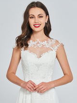 A-Line Lace Ankle-Length Cap Sleeves Homecoming Dress