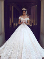 Short Sleeves Cathedral Appliques Floor-Length Garden/Outdoor Wedding Dress