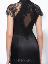 Sheath/Column Short Sleeves Knee-Length Lace Formal Dress