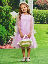 Cute A-Line Long Sleeves Tulle Flower Girl Dress