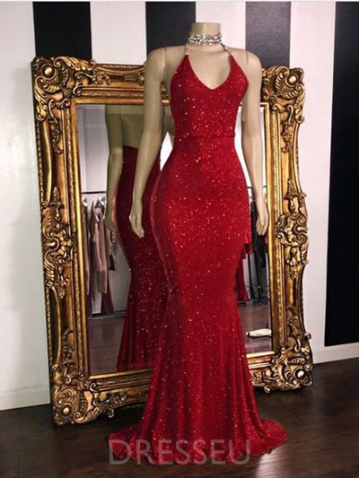 Sleeveless Trumpet/Mermaid Spaghetti Straps Reflective Long Prom Dress