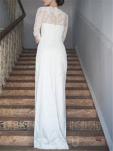 Long Sleeves Lace Scalloped-Edge Floor-Length Garden/Outdoor Wedding Dress