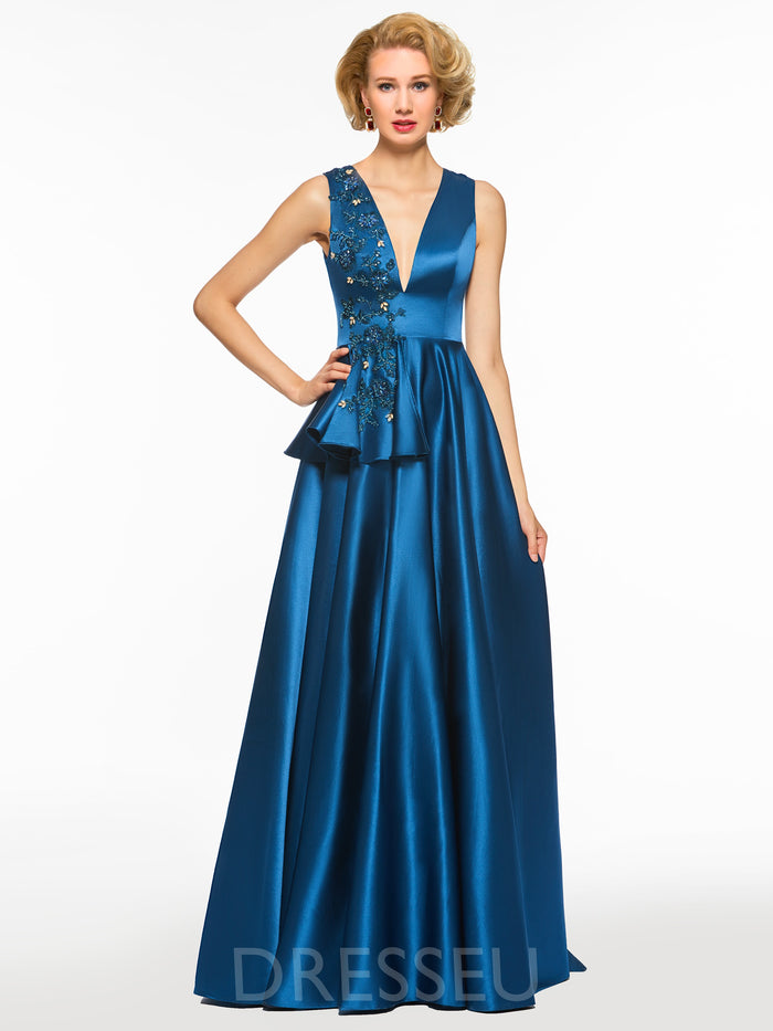 A-Line Floor-Length V-Neck Beading Evening Dress