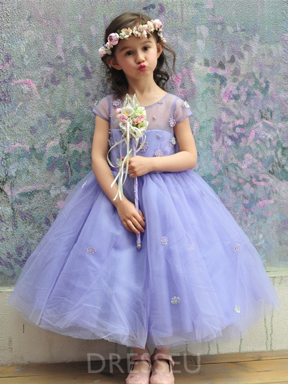 Ankle-Length Tulle Flower Girl Dress with Bowknot