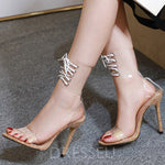 Lace-Up Heel Covering Open Toe Stiletto Heel High-Cut Upper Western Sandals