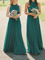 Floor-Length A-Line Sleeveless Pleats Bridesmaid Dress