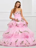 Appliques Ball Gown Sleeveless Strapless Quinceanera Dress