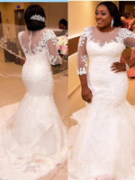 Plus Size Mermaid Floor-Length Scoop 3/4 Length Sleeves Wedding Dress