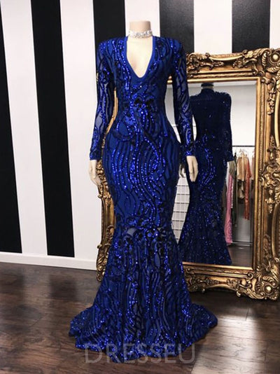 Long Sleeves Floor-Length Trumpet/Mermaid Sweep/Brush Evening Dress