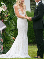 Lace Trumpet/Mermaid Sweep/Brush Sleeveless Hall Wedding Dress