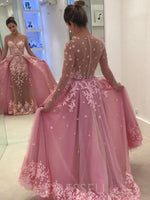 Floor-Length Appliques Scoop A-Line Prom Dress