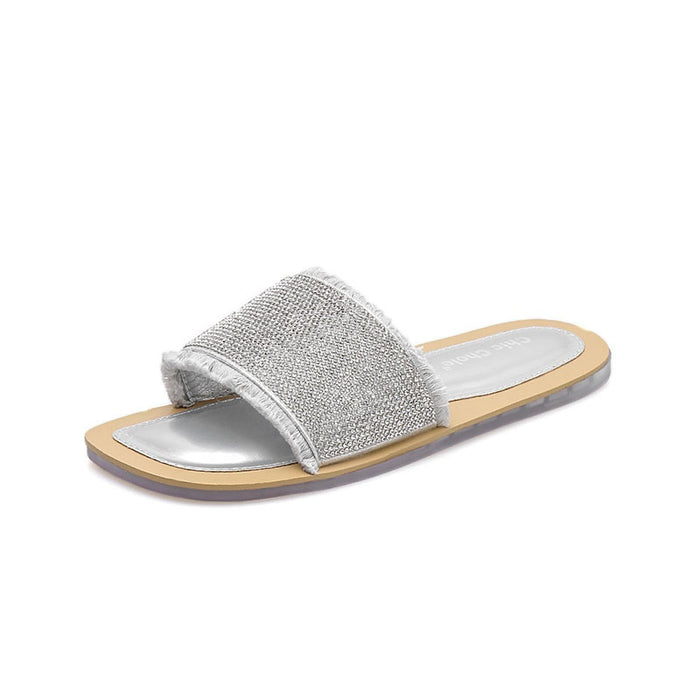 06926b4de Flip Flop Flat With Rhinestone Slip-On Color Block Casual Slippers ...