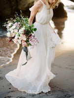Sleeveless Halter Floor-Length Ruched Garden/Outdoor Wedding Dress