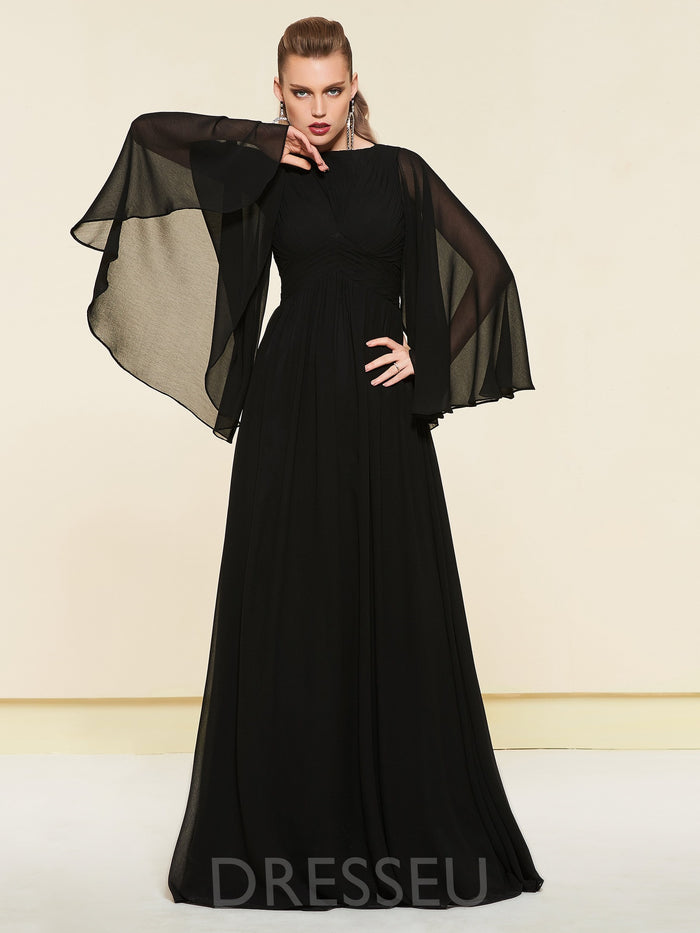 Long Sleeves Floor-Length Pleats A-Line Evening Dress