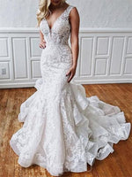 V-Neck Appliques Floor-Length Trumpet/Mermaid Backless Wedding Dress