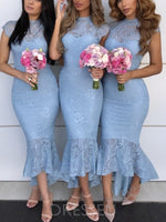Asymmetry High Neck Ruffles Trumpet/Mermaid Bridesmaid Dress