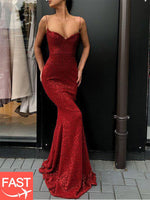 Sequins Sleeveless Spaghetti Straps Floor-Length Evening Dress