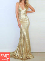 Sequins Spaghetti Straps Backless Long Evening Dress