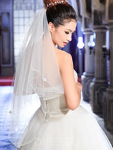 Pencil Edge Two-Layer Appliques Wedding Veil