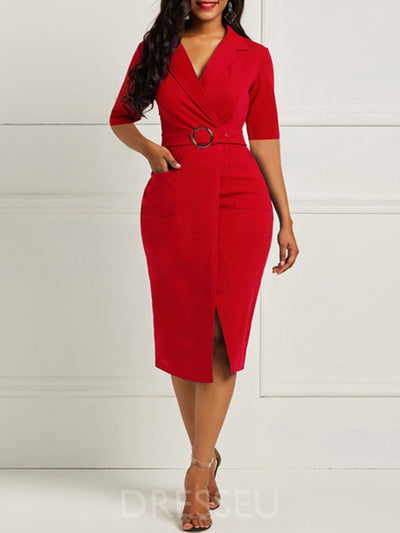 Mid-Calf Split Notched Lapel High Waist Plain Dress