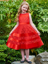 A-Line Tea-Length Jewel Lace Flower Girl Dress