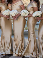 Off-The-Shoulder Trumpet/Mermaid Floor-Length Short Sleeves Bridesmaid Dress