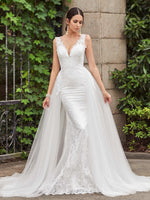 Trumpet/Mermaid Court Train Floor-Length V-Neck Lace Wedding Dress