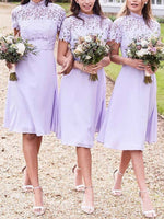 Knee-Length A-Line Short Sleeves High Neck Bridesmaid Dress