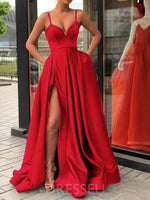 Floor-Length Pockets Spaghetti Straps Sleeveless Prom Dress
