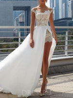 Lace Scoop Sweep Train Cap Sleeves Chiffon Beach Wedding Dress