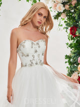 Beading A-Line Sleeveless Sweetheart Hall Wedding Dress