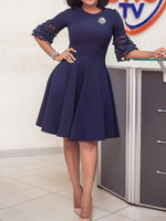 Half Sleeve Round Neck Knee-Length Plain A-Line Dress