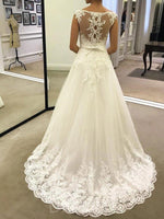 A-Line Scoop Neck Sleeveless Tulle Appliques Outdoor Wedding Dress with Bowknot