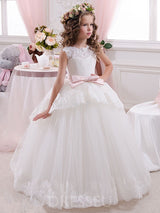 Ball Gown Sleeveless Flower Girl Dresses with Bowknot