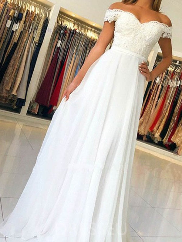 Button Floor-Length Short Sleeves Off-The-Shoulder Church Wedding Dress