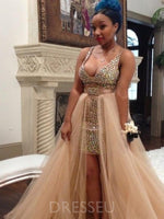 A-Line V Neck Tulle Prom Dress with Beading