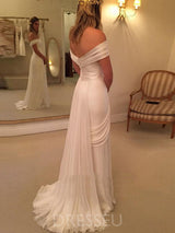 Off-The-Shoulder Ruched Sweep/Brush A-Line Garden/Outdoor Wedding Dress