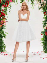 Sleeveless Ruched Ball Gown Knee-Length Wedding Dress