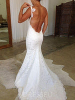 Lace Floor-Length Spaghetti Straps Sleeveless Church Wedding Dress