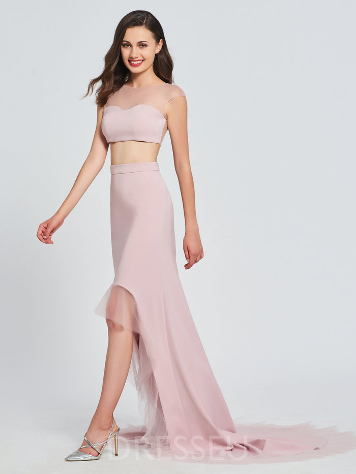 Bateau Asymmetry Cap Sleeves Court Prom Dress