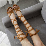 Strappy Open Toe Lace-Up Chunky Heel Cross Strap Low-Cut Upper Sandals