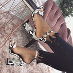Buckle Pointed Toe Chunky Heel Western Color Block Sandals