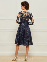A-Line Long Sleeves Knee-Length Appliques Mother of the Bride Dress