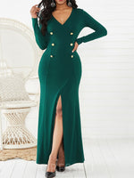 Split V-Neck Long Sleeve Mid Waist Fall Dress